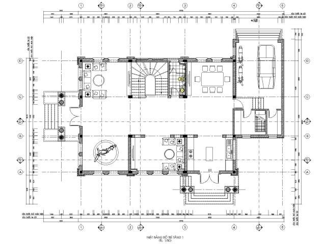 Mặt bằng thiết kế biệt thự 3 tầng cổ điển