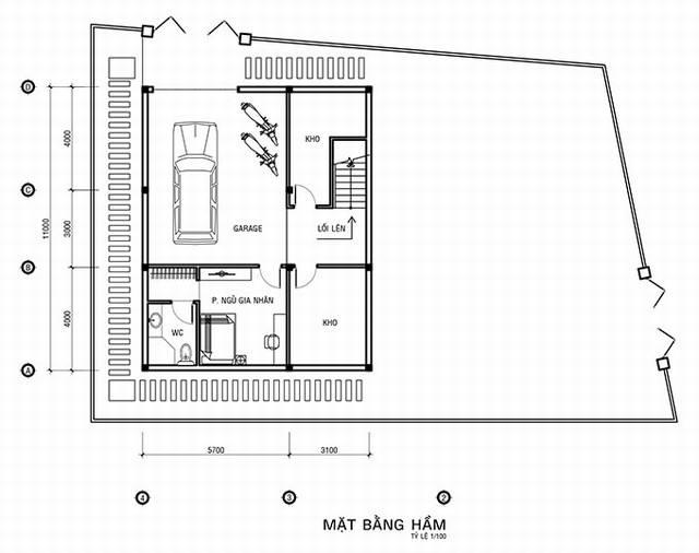 Bản vẽ tầng hầm biệt thự 2 mặt tiền cổ điển 3 tầng Đà Lạt