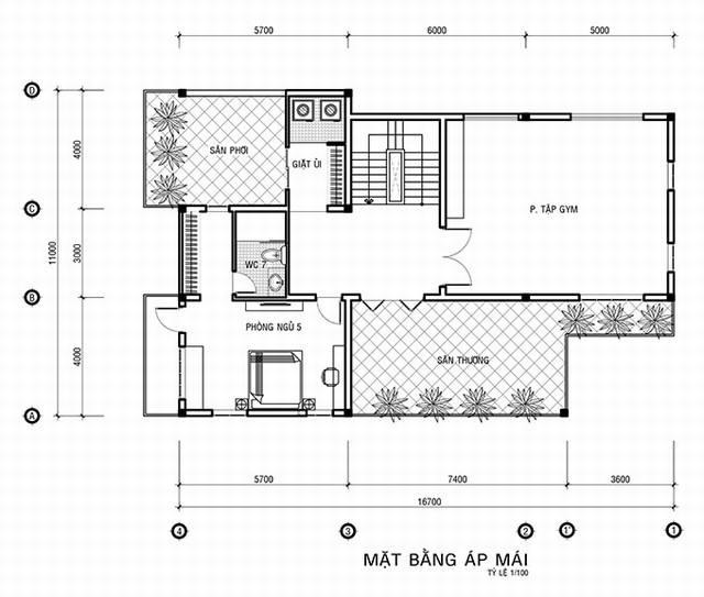 Bản vẽ nhà 3 tầng kiến trúc Pháp 150m2