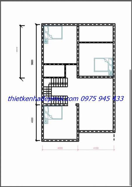 Bản vẽ thiết kế mặt bằng mẫu nhà 2 tầng 8x13m tầng 2 diện tích 100m2
