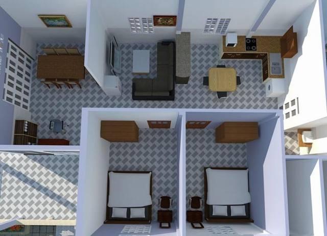 Mặt bằng mẫu thiết kế nhà cấp 4 rộng 8mx12m