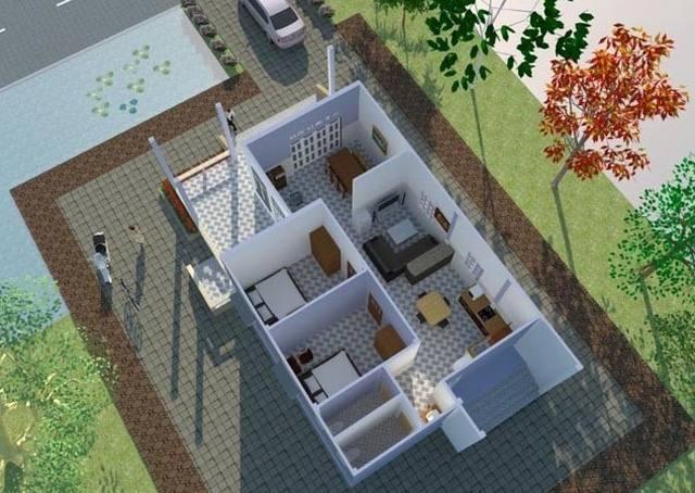 Mặt bằng thiết kế nhà ngang 8m cấp 4 2 phòng ngủ