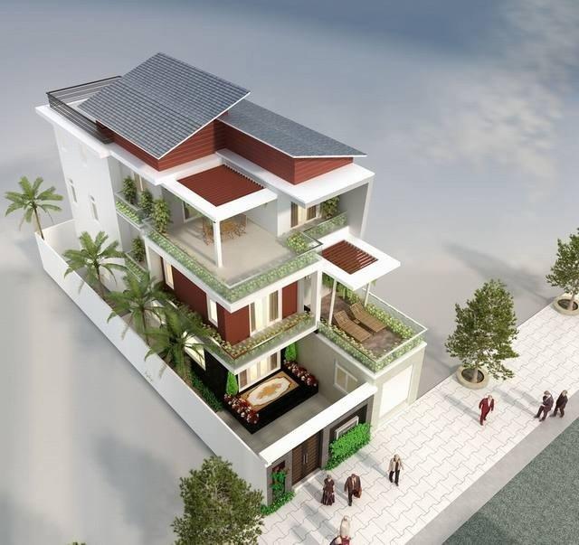 Biệt thự phố 2.5 tầng mặt tiền 10m