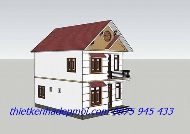 Bản vẽ nhà 2 tầng mái tôn 100m2