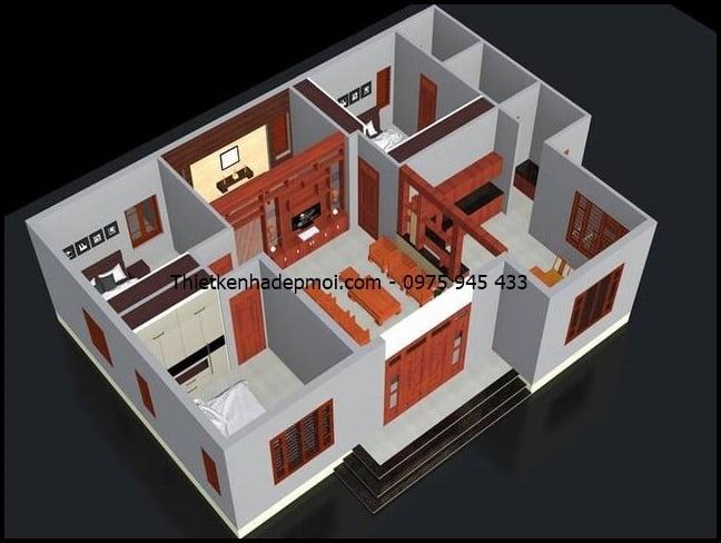 Bản vẽ thiết kế mặt bằng nội thất nhà cấp 4 mái thái 10x13m hiện đại
