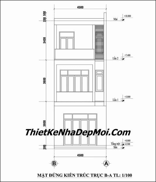 thiết kế nhà ống 3 tầng 4.5m