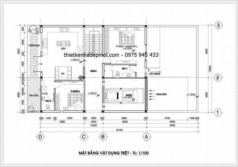 Thiết kế nhà ngang 10m có tầng âm
