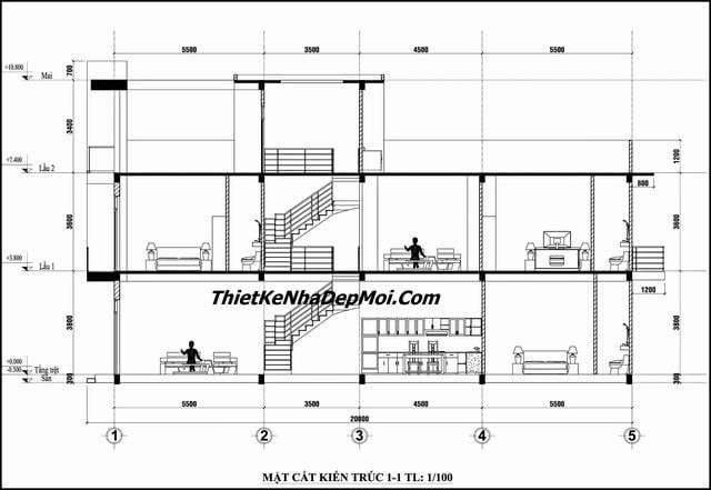 Bản vẽ xây nhà 3 tầng mặt tiền 4.5m