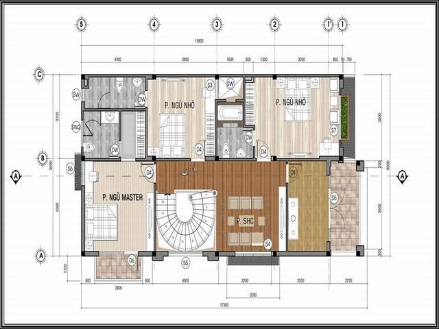 Bản vẽ biệt thự phố 3 tầng đẹp 150m2