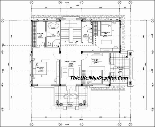 Mặt bằng biệt thự 12x16m tầng 2