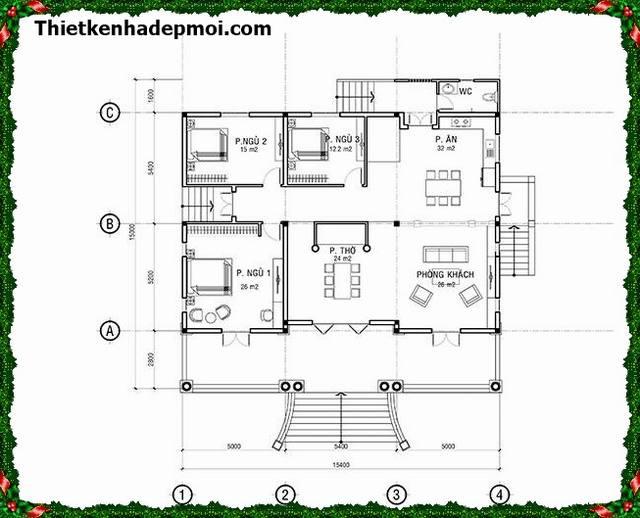Bản thiết kế biệt thự mini nhà vườn 1 tầng 3 phòng ngủ 15x15,5m