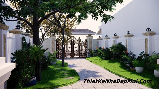 Thiết kế sân cổng nhà phố 7m