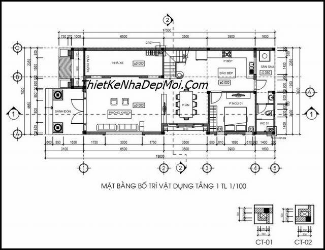 Bản vẽ nhà 1 trệt 2 lầu 7x16