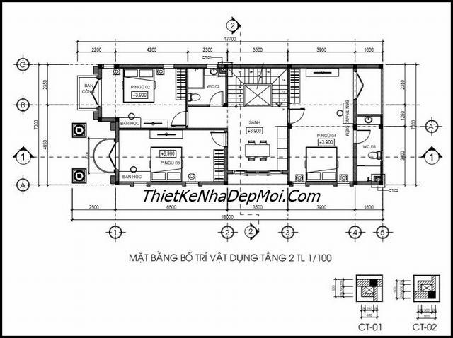 Thiết kế nhà 2 tầng 1 tum 7x16m