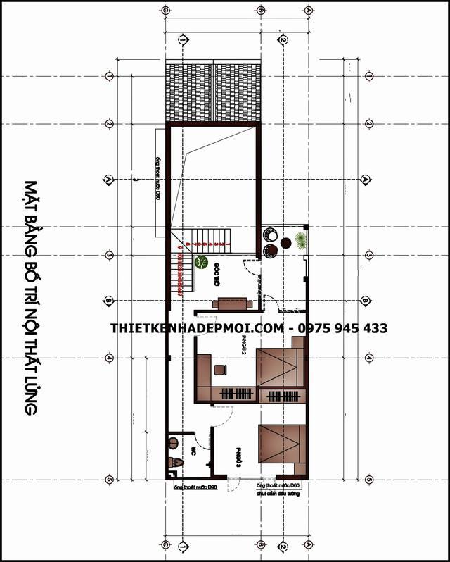 Bản vẽ thiết kế nhà cấp 4 có gác lửng 7x15 3 phòng ngủ