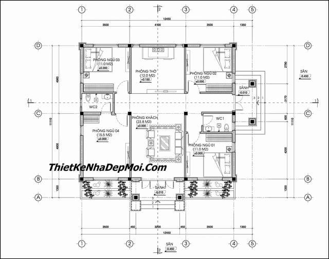 Bản vẽ nhà 1 tầng 4 phòng ngủ 1 phòng thờ