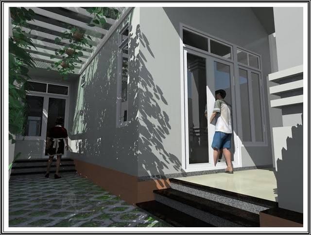 Mẫu nhà mái thái 1 trệt 1 lửng 6x16 mặt tiền 7m