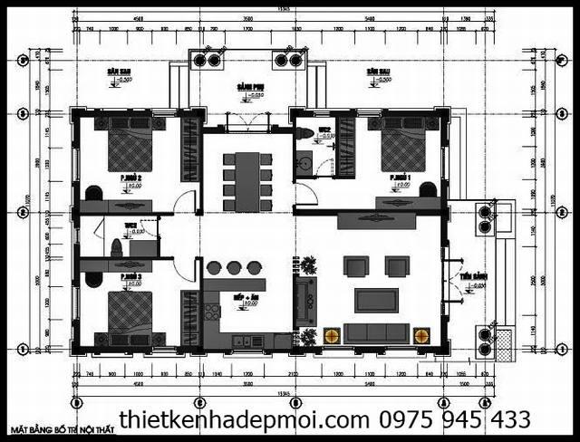 Biệt thự 1 tầng kiểu Pháp 3 phòng ngủ 100m2 2 mặt tiền