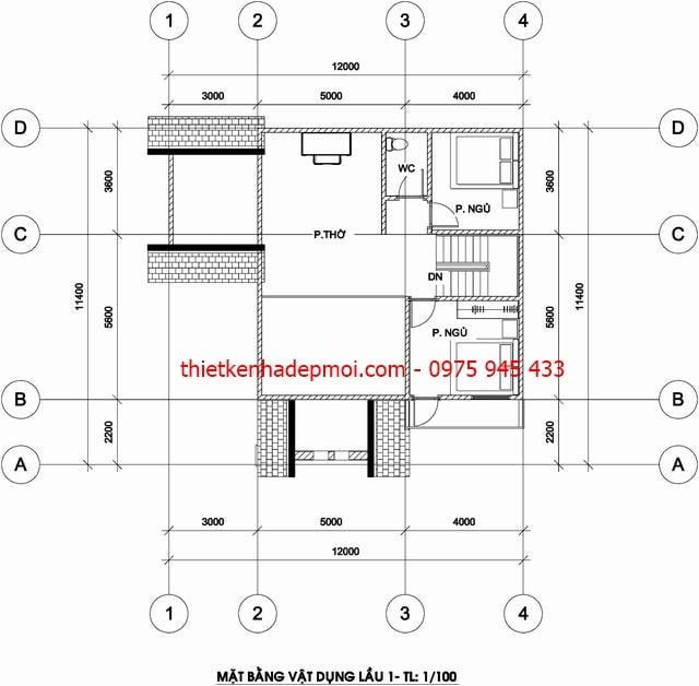 Mặt bằng tầng 1 biệt thự mini 2 tầng mái thái