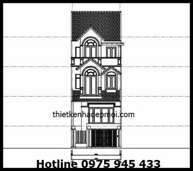 Thiết kế nhà phố 1 trệt 3 lầu 6m
