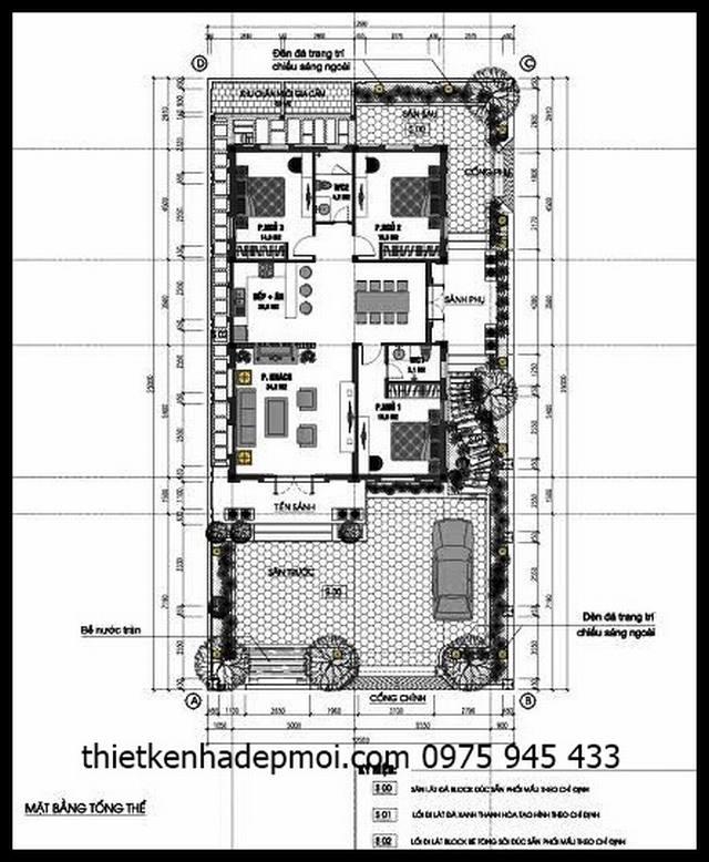 Biệt thự cổ điển 1 tầng kiểu Pháp 3 phòng ngủ 100m2 2 mặt tiền