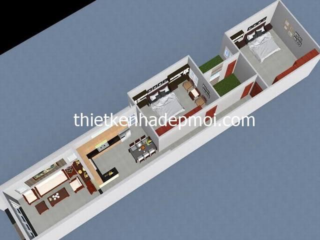 Mặt bằng nhà cấp 4 chữ L mái thái 5x20