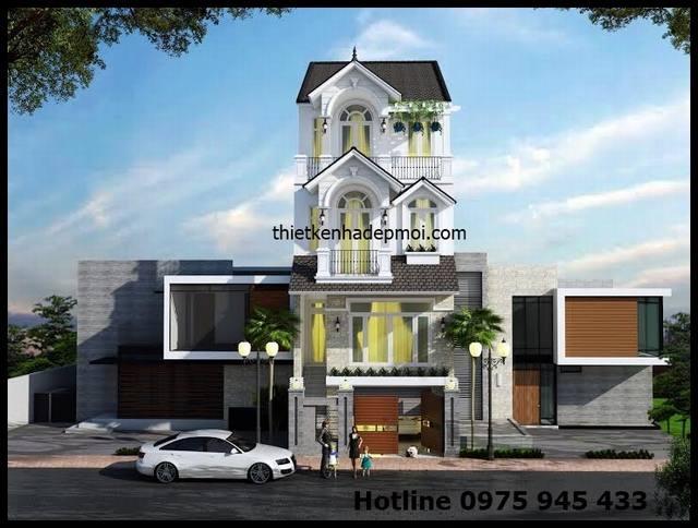 Thiết kế nhà phố 4 tầng mái thái