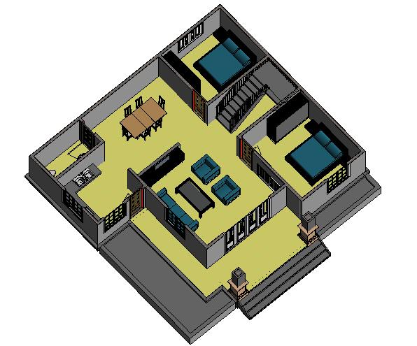 Bản vẽ tầng trệt biệt thự mini kiểu Pháp 11x12m
