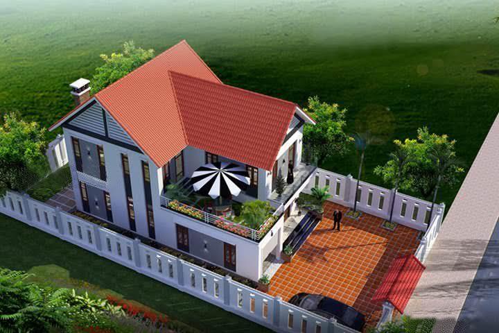 Bản vẽ cad nhà 2 tầng mái thái