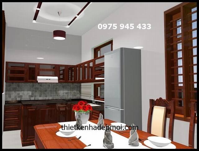 Phòng bếp nhà biệt thự 200m2 4 phòng ngủ