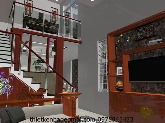 Thiết kế nội thất nhà gác lửng 6x20m
