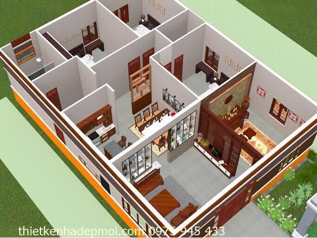 Bản vẽ nhà mái ngói 1 tầng 3 phòng ngủ 1 phòng thờ 3D