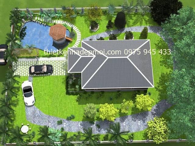 Mẫu biệt thự sân vườn 1 tầng 160m2 đẹp