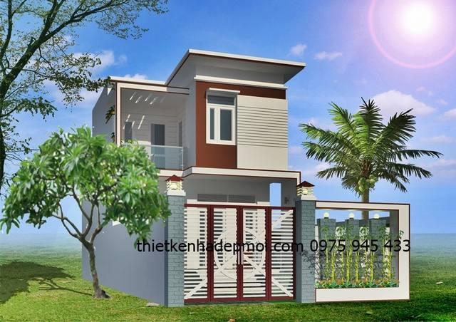 Kiểu nhà 2 tầng hiện đại 100m2 mái bằng đơn giản ở quê