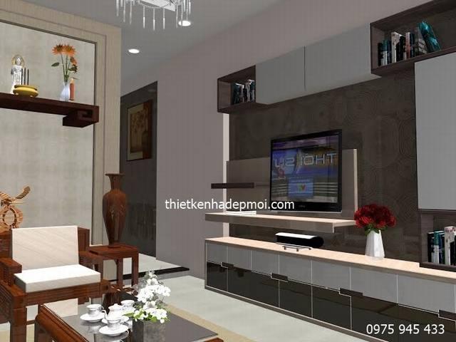 Thiết kế nội thất phòng khách 20m2 nhà cấp 4 mái thái 5x20 đẹp