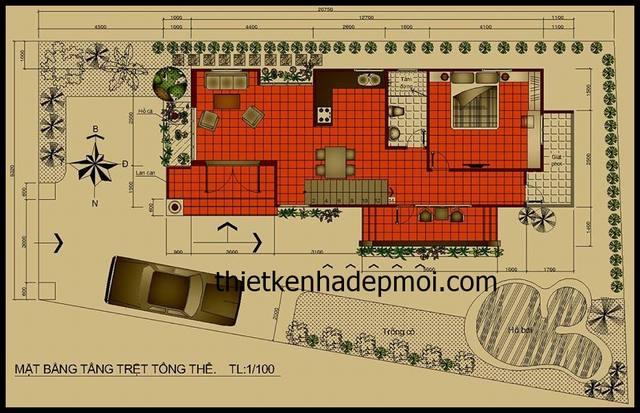 Thiết kế nhà 1 tầng có gác lửng 6.5x17m