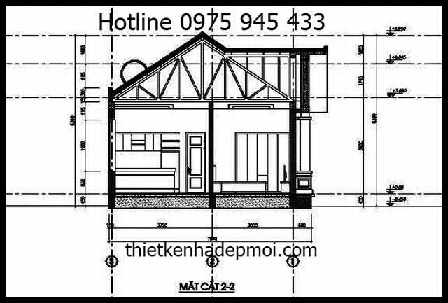 Bản vẽ nhà vườn 1 tầng mái thái 3 phòng ngủ 7x17m