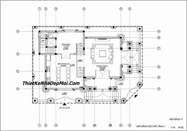 Bản vẽ biệt thự bán cổ điển 4 tầng