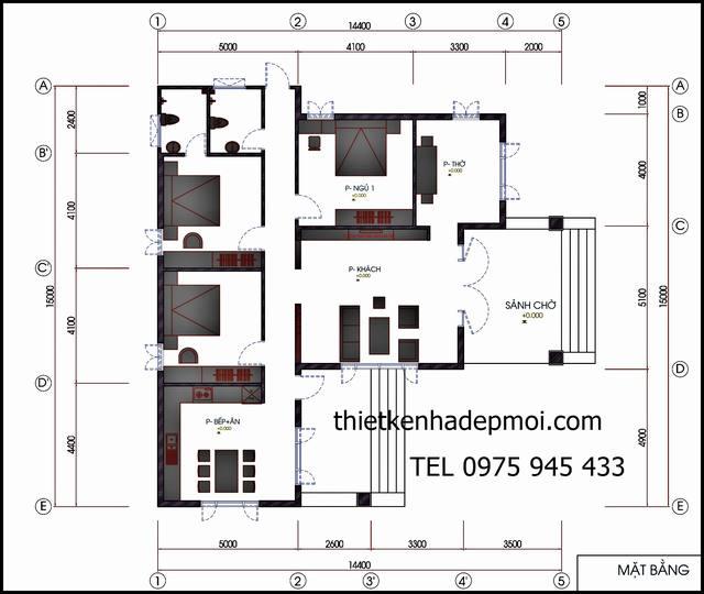 Mặt bằng nhà cấp 4 chữ L ngang 15m mái thái 3 phòng ngủ lợp tôn giá rẻ