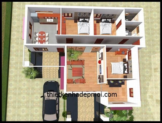 Mặt bằng nhà cấp 4 mái tôn 3 phòng ngủ 2D