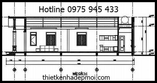 Thiết kế nhà cấp 4 diện tích 7x17m