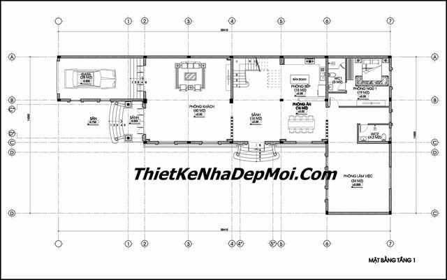 Mặt bằng thiết kế nhà phố rộng 7m 3 tầng