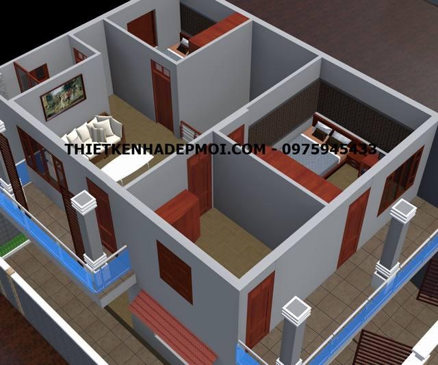 Thiết kế nhà 8x11 2 tầng