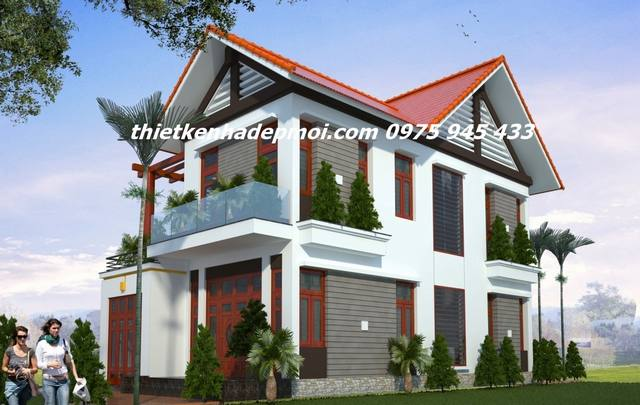 mẫu nhà 2 tầng 90m2 mái thái ở nông thôn 8x12