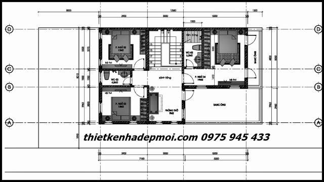 Bản vẽ nhà 8x12 có gara 2 tầng mái tahi1