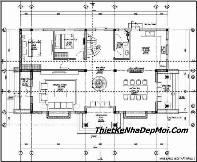 Mặt bằng thiết kế nhà ngang 16m