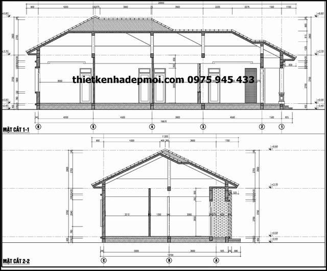 Bản vẽ nhà trệt mái thái 8x17m