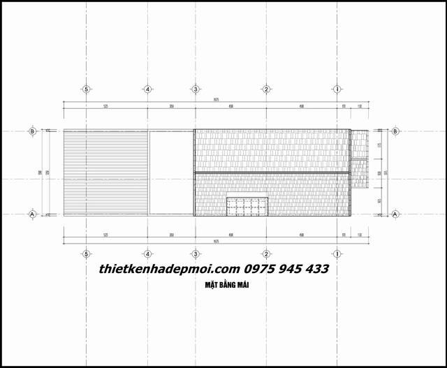 Bản vẽ nhà phố mái thái mái thái 5 tầng