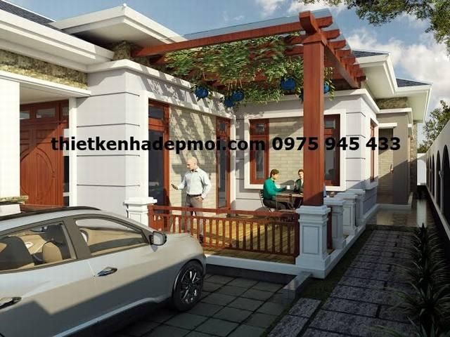 Thiết kế nhà mái ngói chữ L 8x17m