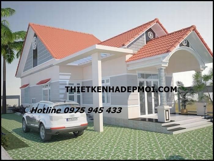 Mẫu nhà cấp 4 đẹp 6x20 thiết kế xây 1 bên đất vườn mái ngói đỏ